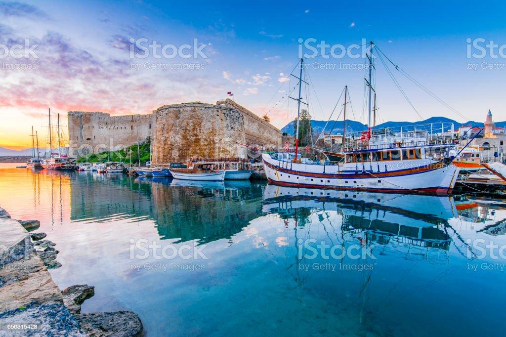 Kyrenia Castle view in Northern Cyprus stock photo
