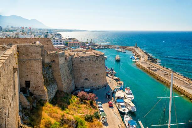 kyrenia (girne) fortress, view of venetian tower. cyprus - cyprus стоковые фото и изображения
