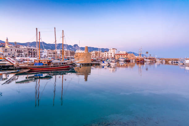 Kyrenia old Harbour of Northern Cyprus stock photo