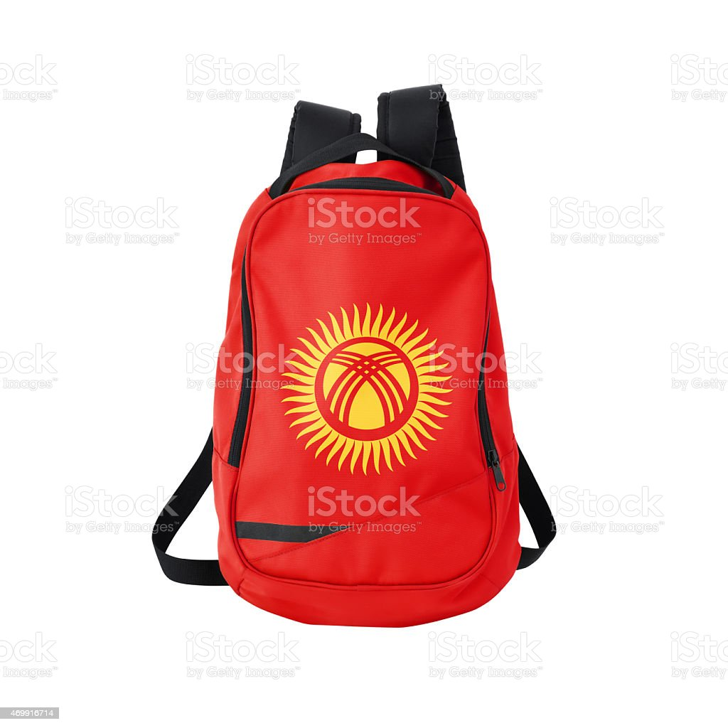 Kyrgyz flag backpack isolated on white w/ path stock photo