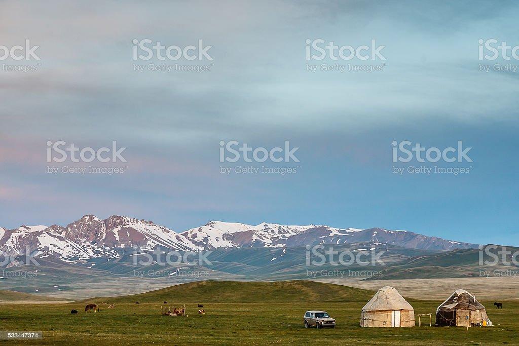 Kyrgyzian yurts stock photo