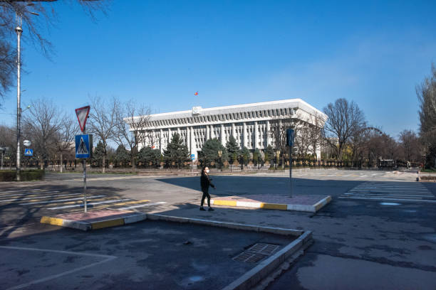 (Editorial) Kyrgyzstan, Bishkek White House and Central Ala-Too square in quarantine stock photo