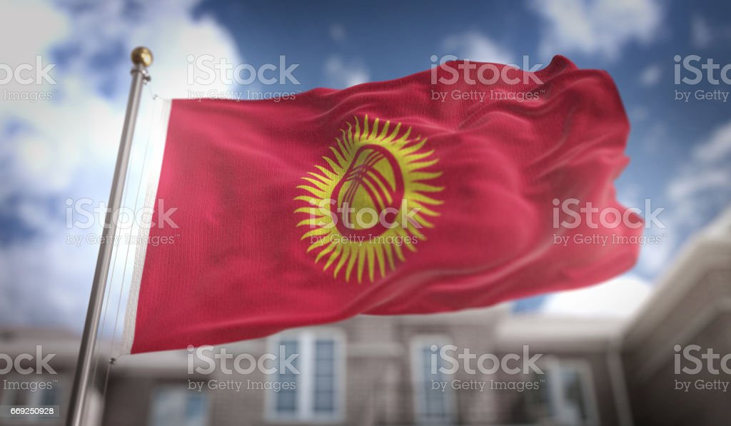 Kyrgyzstan Flag 3D Rendering on Blue Sky Building Background stock photo