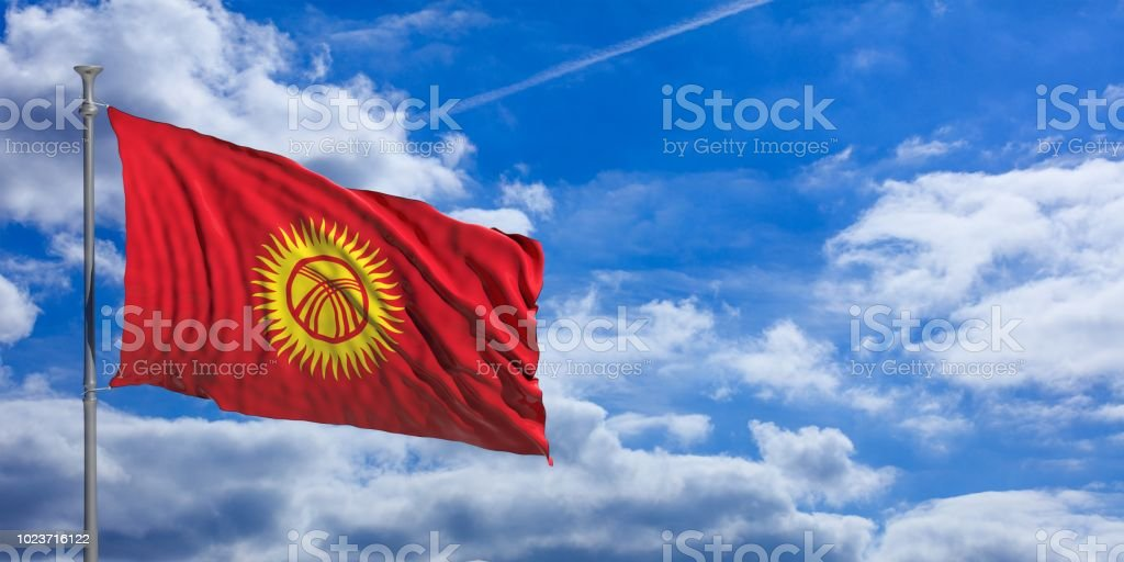 Kirgisistan wehende Flagge am blauen Himmel. 3D illustration – Foto