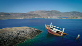 Drone picture aerial view of sunken shipwreck right before the coast of Kythira island Greece