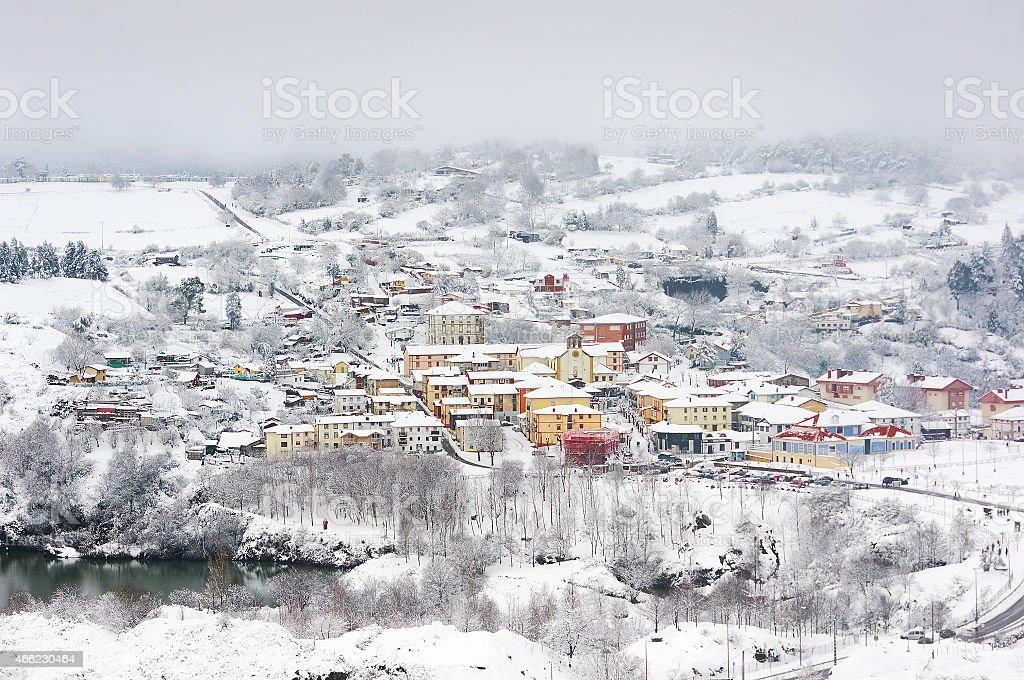 La Arboleda village in winter stock photo