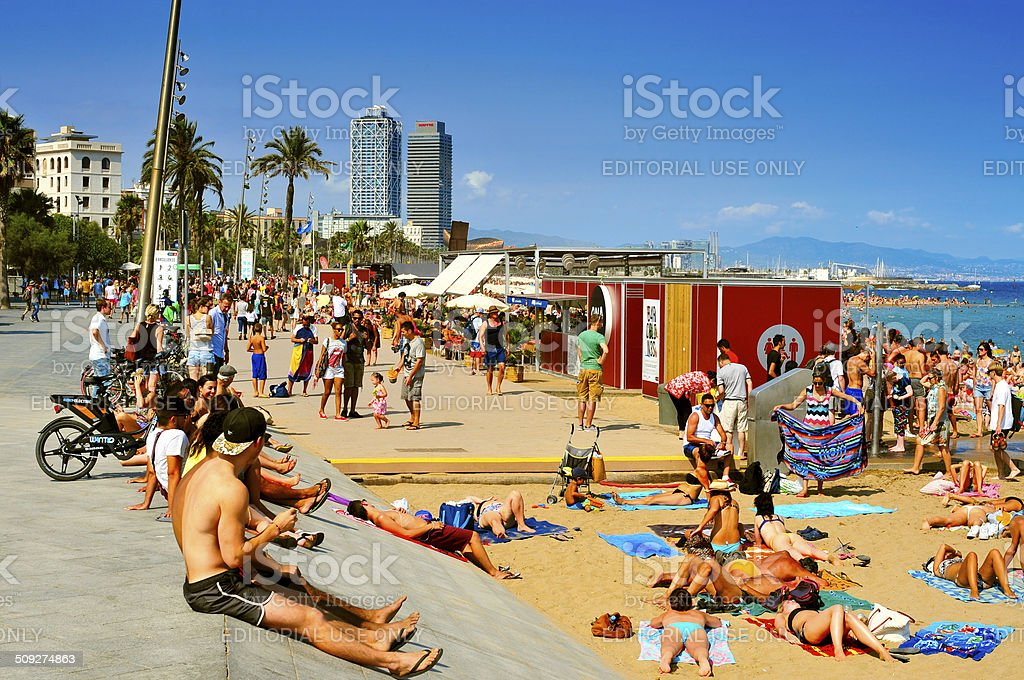La Barceloneta Beach, in Barcelona, Spain stock photo