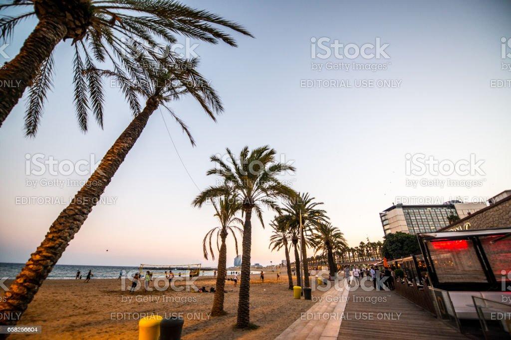 La Barceloneta Beach promenade, Barcelona, Spain stock photo