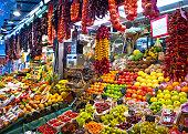 La Boqueria, fruits. World famous Barcelona market