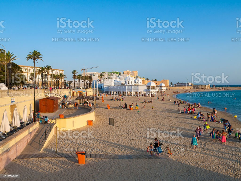 La Caleta Beach in Cadiz, Spain stock photo