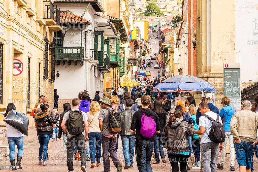 La Candelaria Street in Bogota, Colombia stock photo