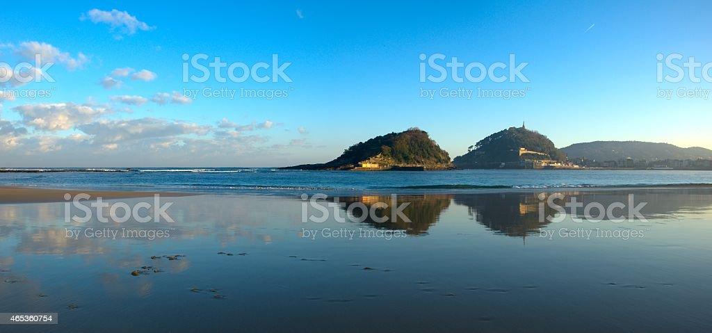 La Concha Bay, Cantabrian Sea, city of Donostia stock photo