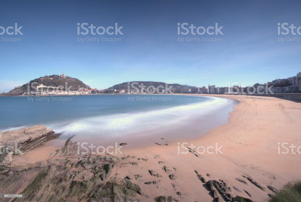 La Concha beach in San Sebastian. stock photo
