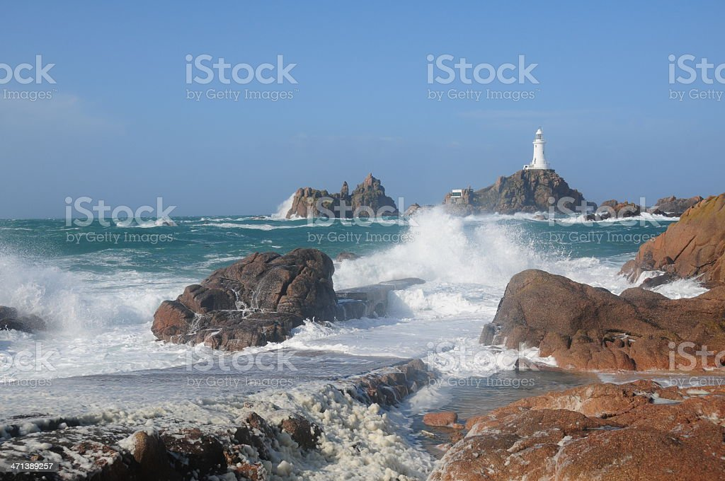 La Corbiere Lighthouse, Jersey. stock photo