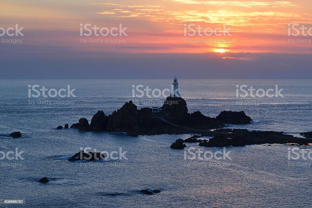 La Corbiere lighthouse, Jersey, U.K. stock photo