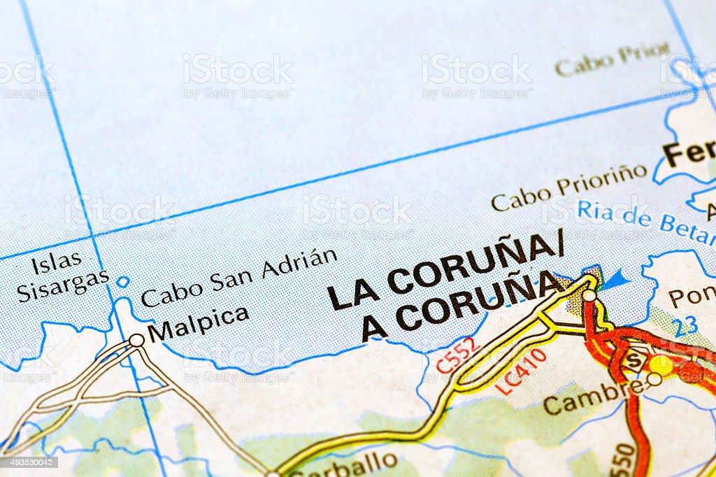 Map Of Spain La Coruna.La Coruna Area On A Map Stock Photo Download Image Now Istock