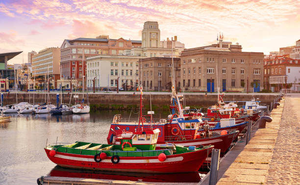 La Coruna port marina in Galicia Spain stock photo