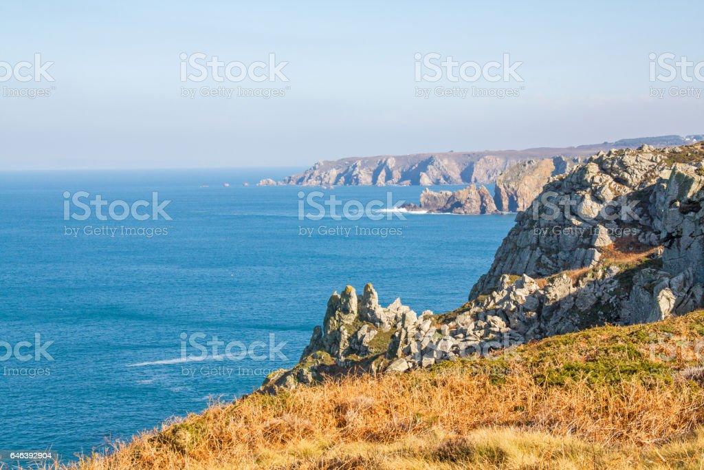 La cote sauvage de la Pointe du Van dans le Finistère, Bretagne, France stock photo