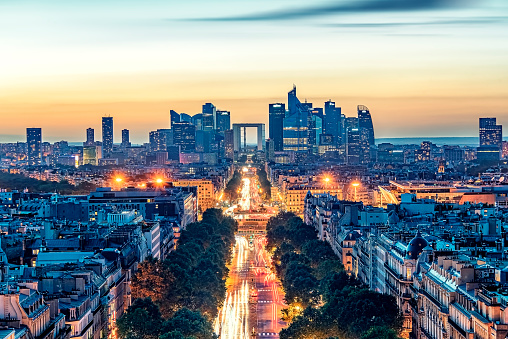 Modern building in Paris at sunset