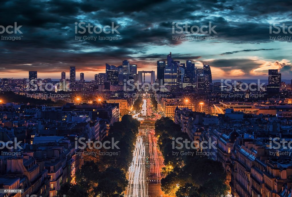 La Defense, business district in Paris stock photo