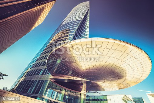 La Defense skyscraper in Paris,France. Images were created during the istockalypse event in Paris 2016. They have been captured on the public streets of the business district.