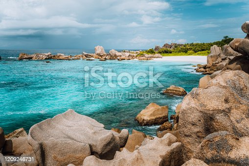 La Digue island, Seychelles. Marron hidden most remote secluded beautiful beach.