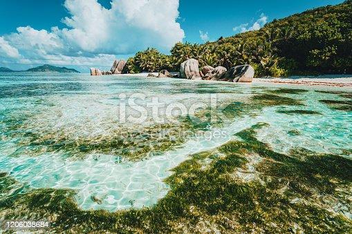La Digue Island, Seychelles. World famous tropical beach Anse Source d'Argent with granite boulders.
