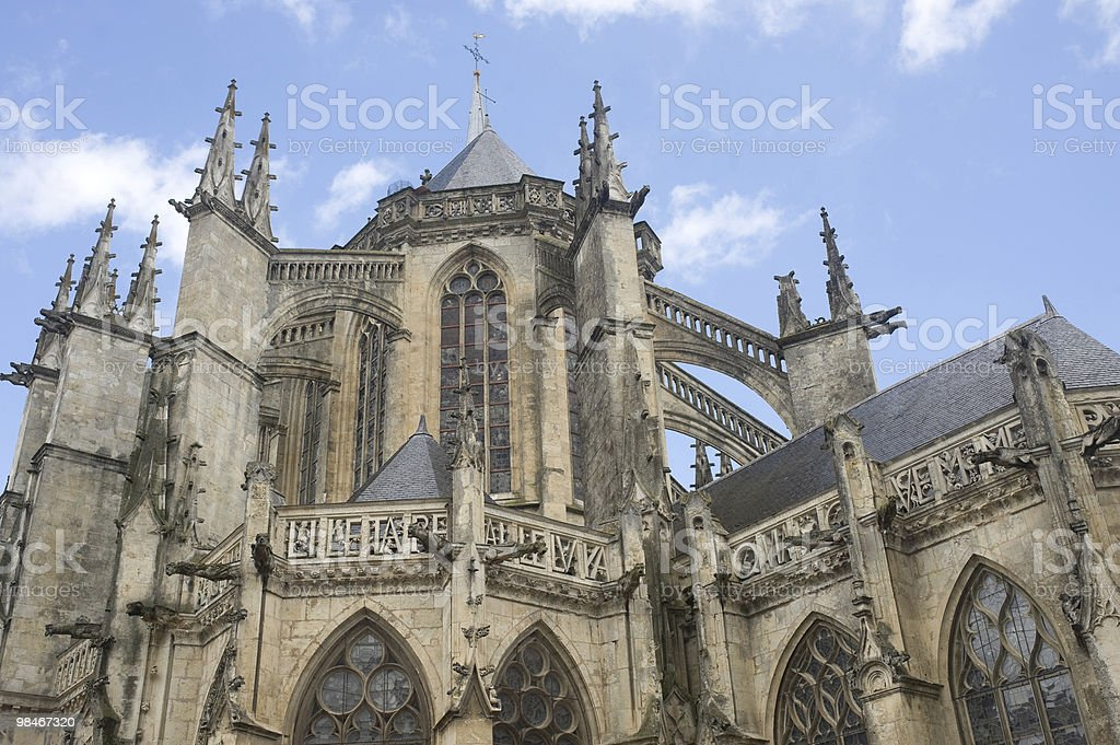 La Ferté-Bernard (France) - Gothic church exterior royalty-free stock photo
