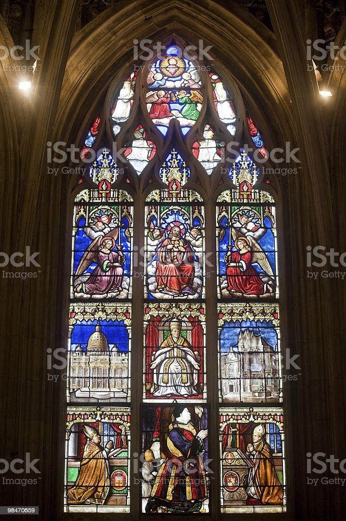 La Ferté-Bernard (France) - Gothic church interior, stained glass window royalty-free stock photo