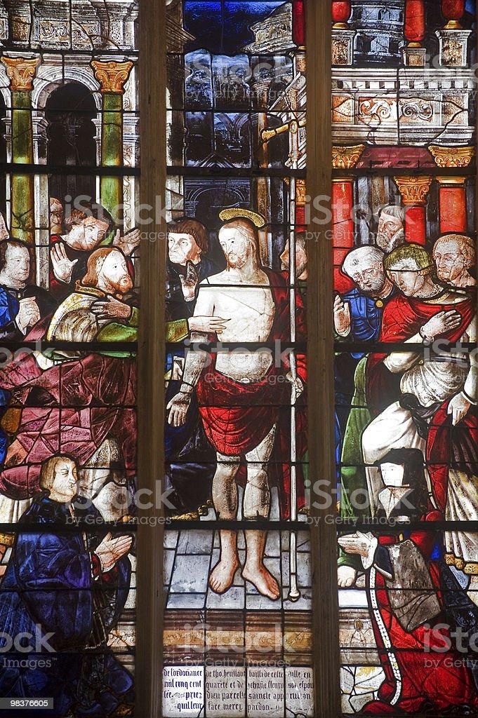 La Ferté-Bernard (Loire, Francia), vetrata foto stock royalty-free