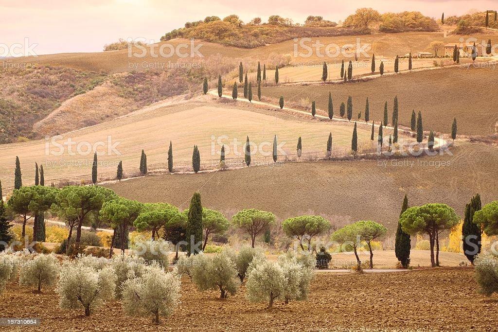 La Foce in Tuscany Autumn royalty-free stock photo