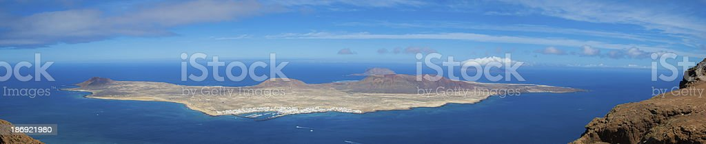 La Gaciosa view from Lanzarote stock photo