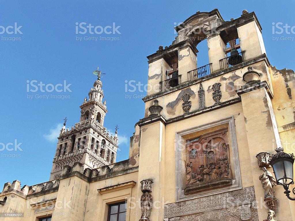 La Giralda and Puerta de San Cristobel, Seville Catedral, Spain stock photo