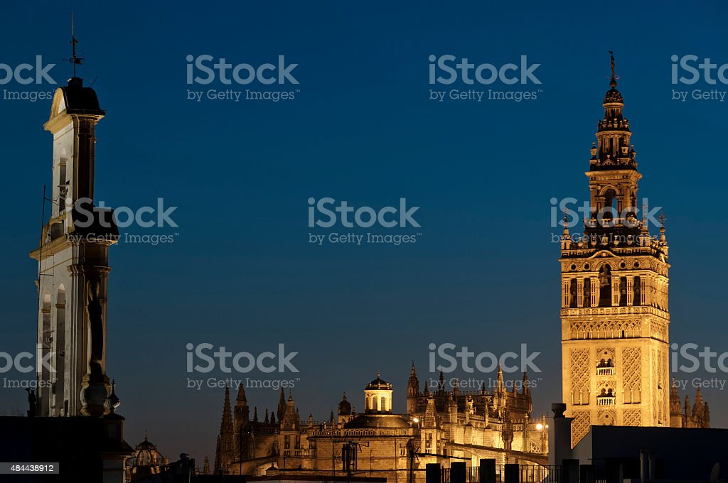 La Giralda at night, Seville stock photo