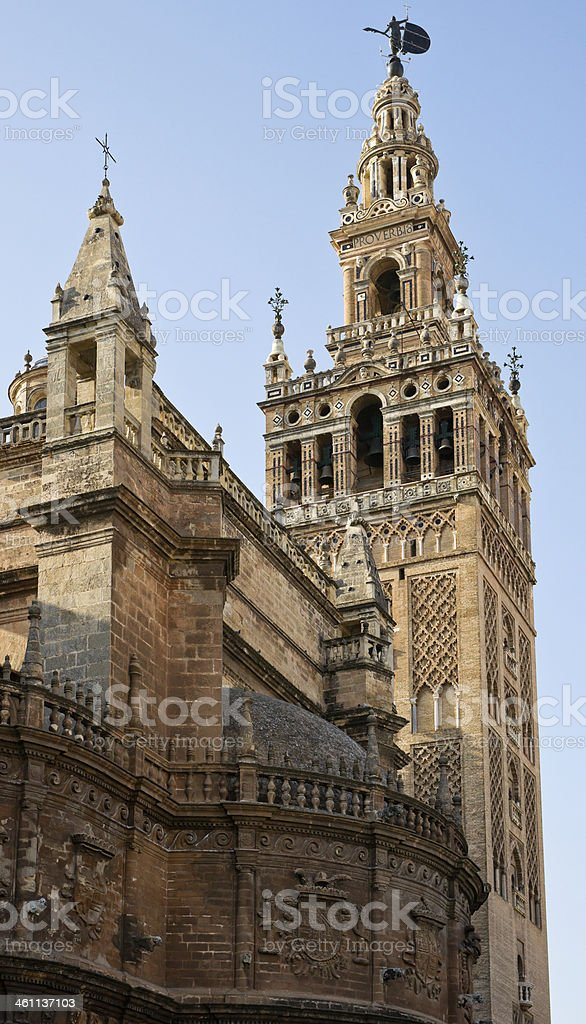 La Giralda Bell Tower of Seville Cathedral, Andalusia, Spain stock photo