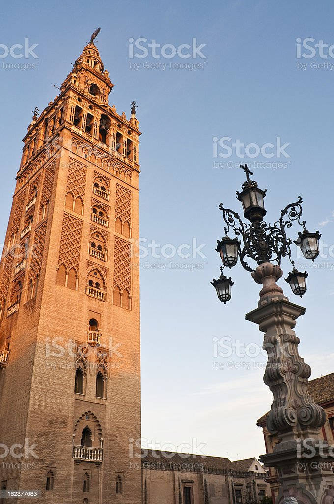 La Giralda renaissance bell tower Seville Cathedral sunrise Andalusia Spain stock photo