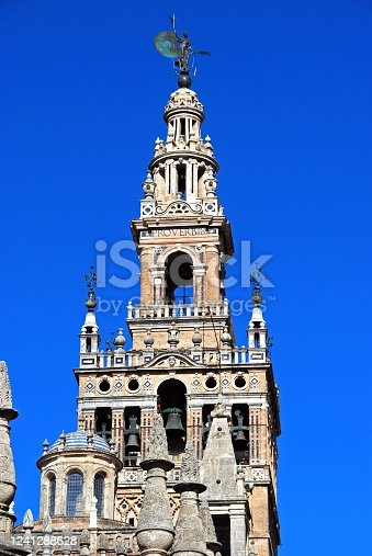 View of La Giralda Tower, Seville, Seville Province, Andalusia, Spain, Europe.