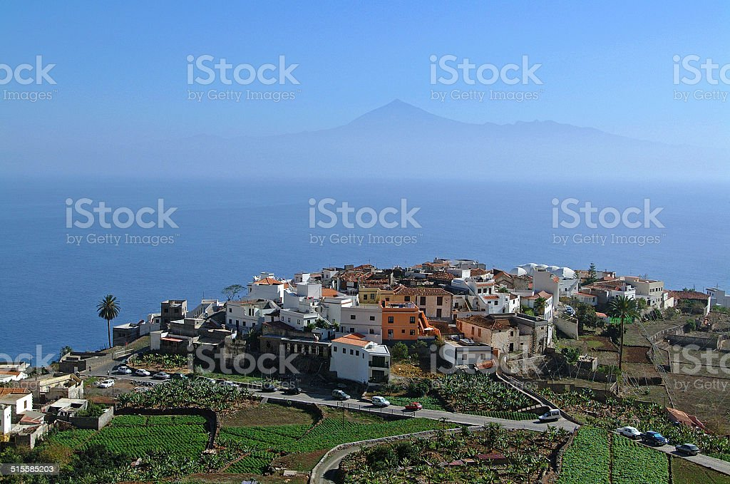 La Gomera - Aerial view of Agulo with Tenerife stock photo