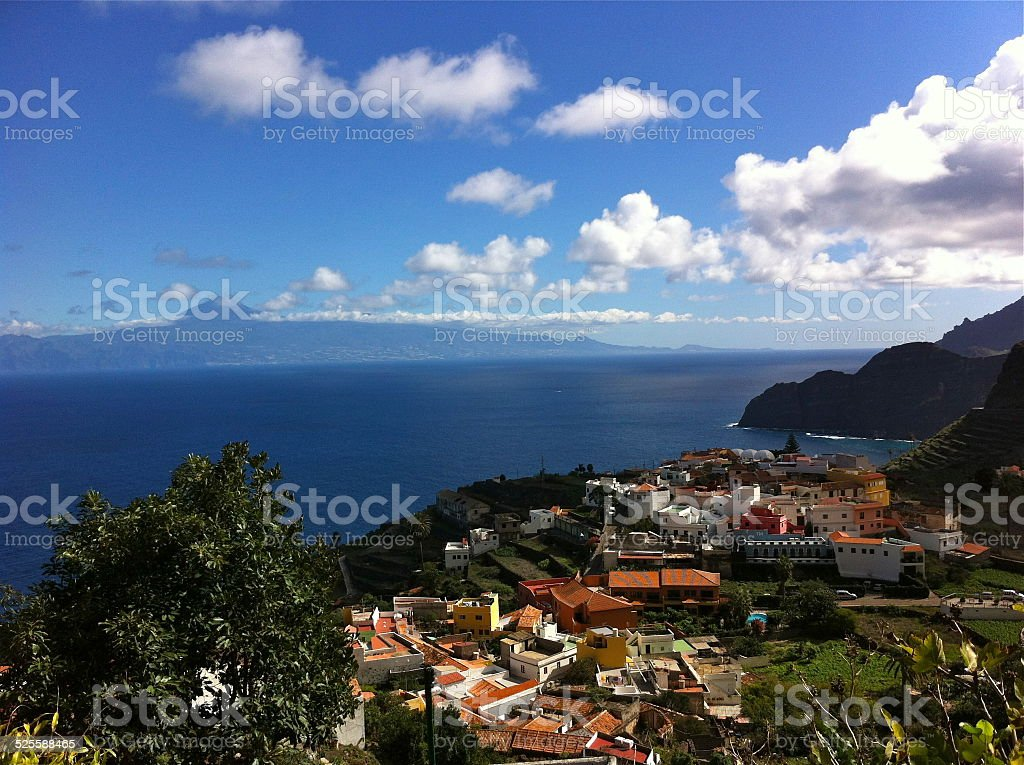 La Gomera, village Agulo and view on Tenerife stock photo