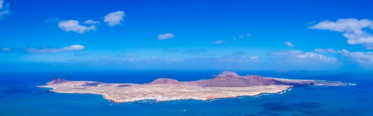 La Graciosa seen from the Mirador del Rio (Lanzarote, Canary Islands)