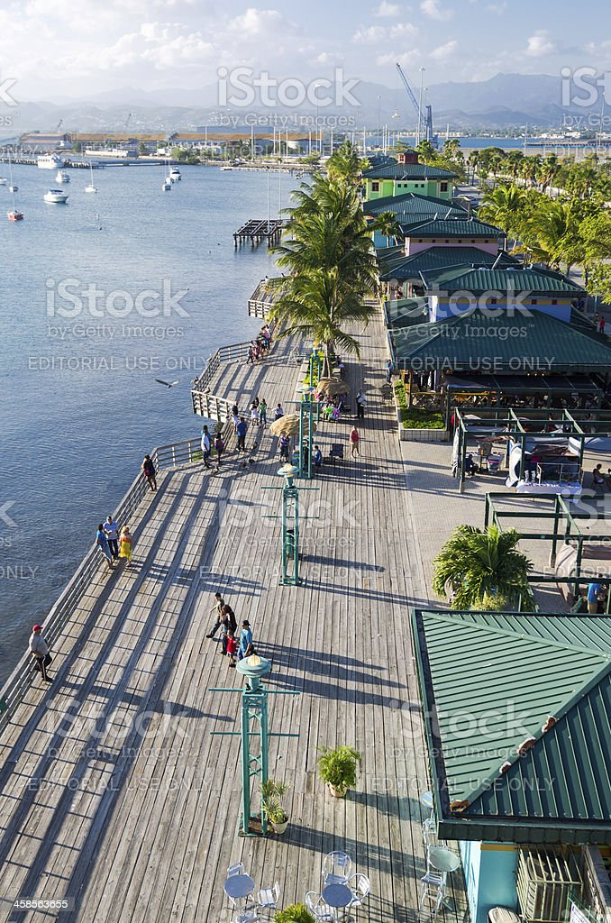 La Guancha Boardwalk along the water in Ponce, Puerto Rico stock photo