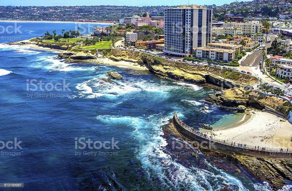 La Jolla and Children's Pool Aerial stock photo