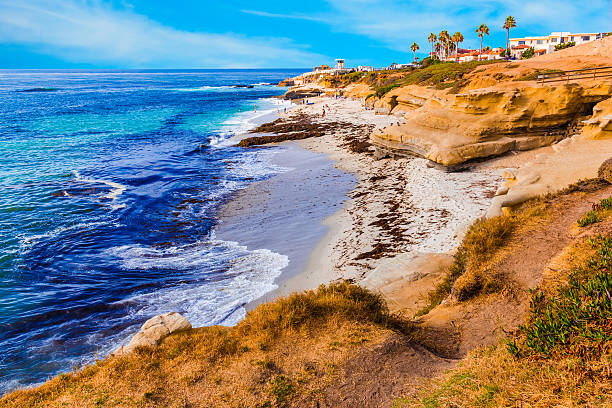 La Jolla coastline in Southern California,San Diego (P) Rocky coastline at La Jolla in Southern California near San Diego eroded stock pictures, royalty-free photos & images