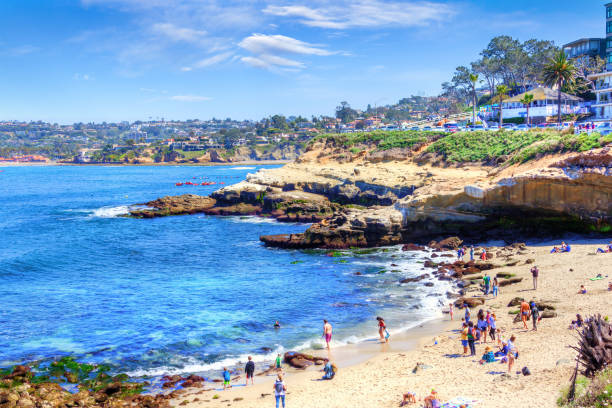 la jolla cove in san diego, southern california - rocky coastline stock pictures, royalty-free photos & images