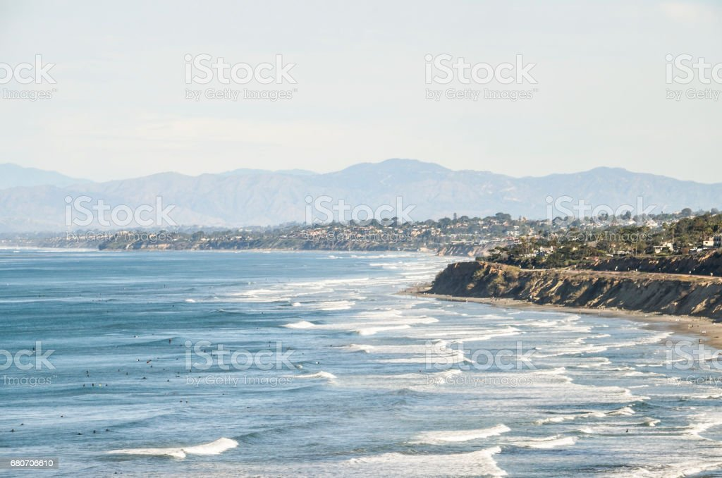 La Jolla San Diego cityscape skyline coast coastline from Torrey Pines overlook in California stock photo