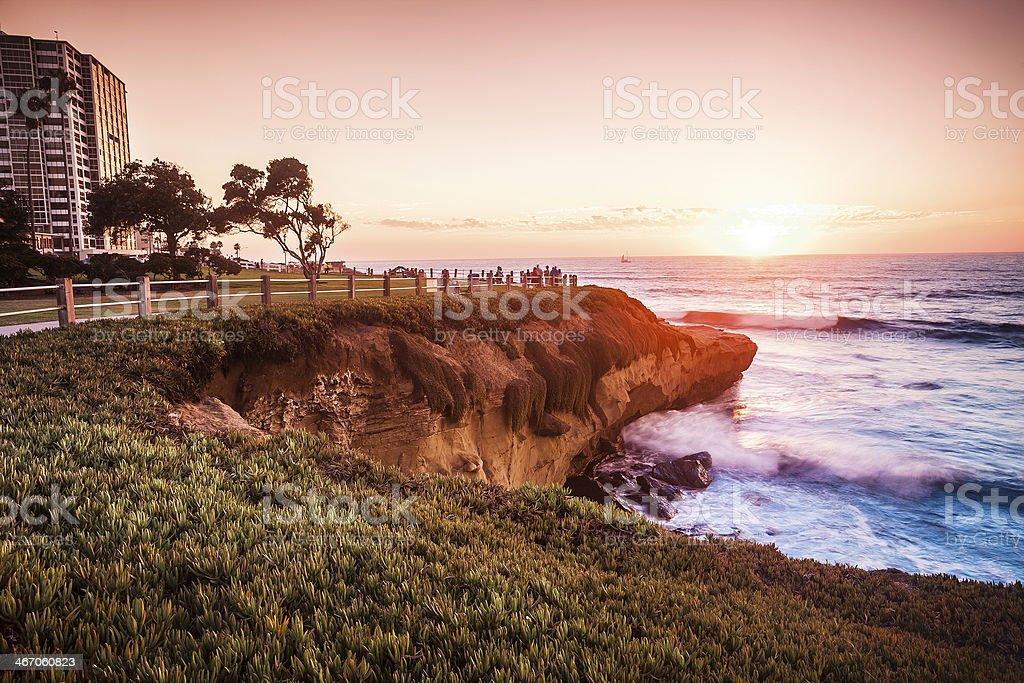 La Jolla San Diego Southern California Coast, Colorful Sunset stock photo