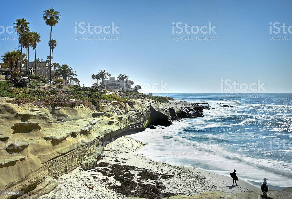 La Jolla Shores Coastline, San Diego California USA stock photo