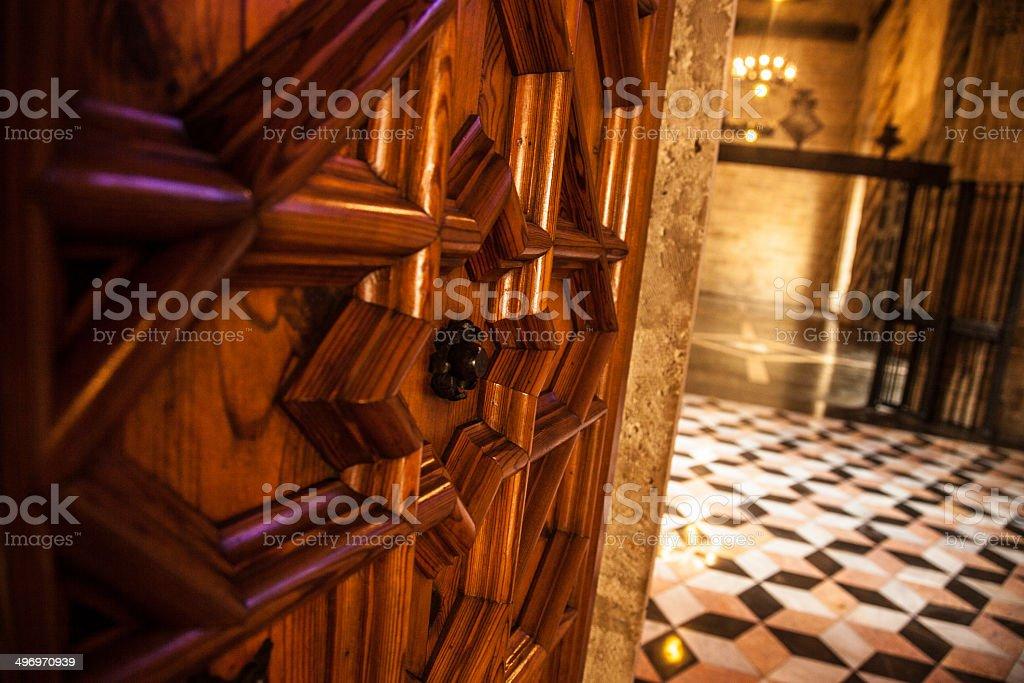 La Lonja in Valencia - Entrance door stock photo