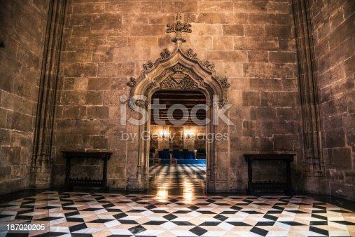 La Lonja of Valencia - Entrance hall, Spain.