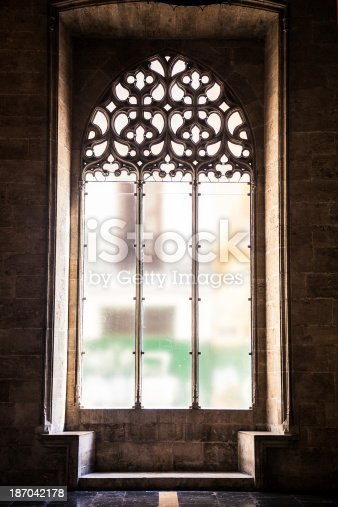 Window of La Lonja of Valencia in Valencia, Spain.